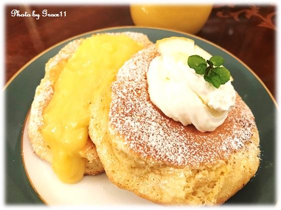 レモンのスフレパンケーキ☆レモンカード添え
