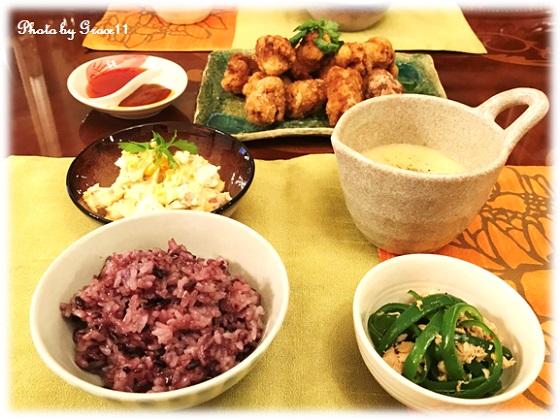 夕食のメインは大豆ミートの唐揚げ・黒米・ポテトサラダ・コーンスープ・無限ピーマン