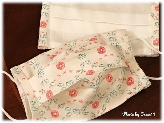 プリーツ布マスクカバー 手縫い
