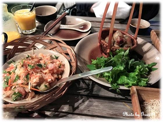 Pomelo and Dried Prawn Salad & Deep-fried Spring Rolls in Cau Go