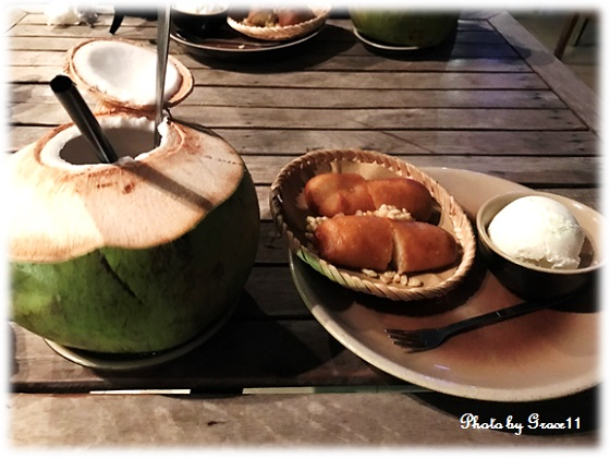 Banana Fritters with Coconut Ice Cream & Coconut Juice in Cau Go