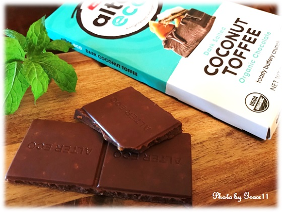 Alter Eco☆Organic Chocolate☆Dark Salted COconut Toffee 47% Cocoa