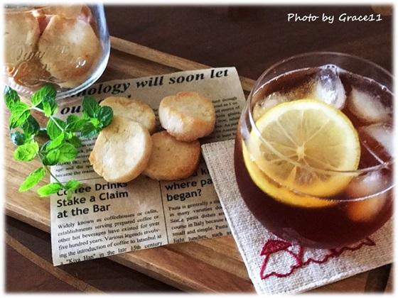 グルテンフリーのレモンクッキー with アイスレモンティー