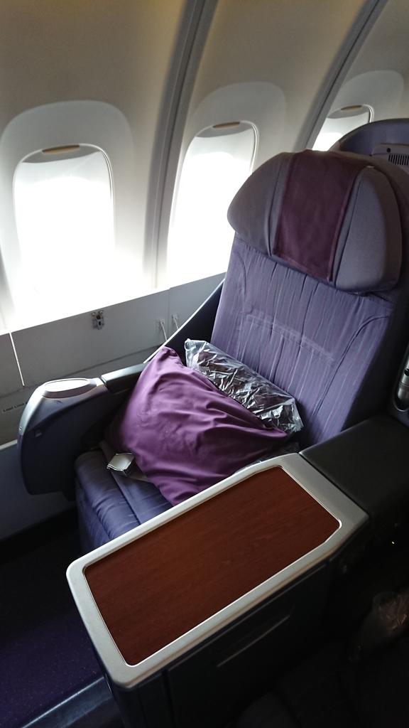 タイ国際航空 TG683便 B747 ビジネスクラス 座席 シート 羽田 スワンナプーム国際空港