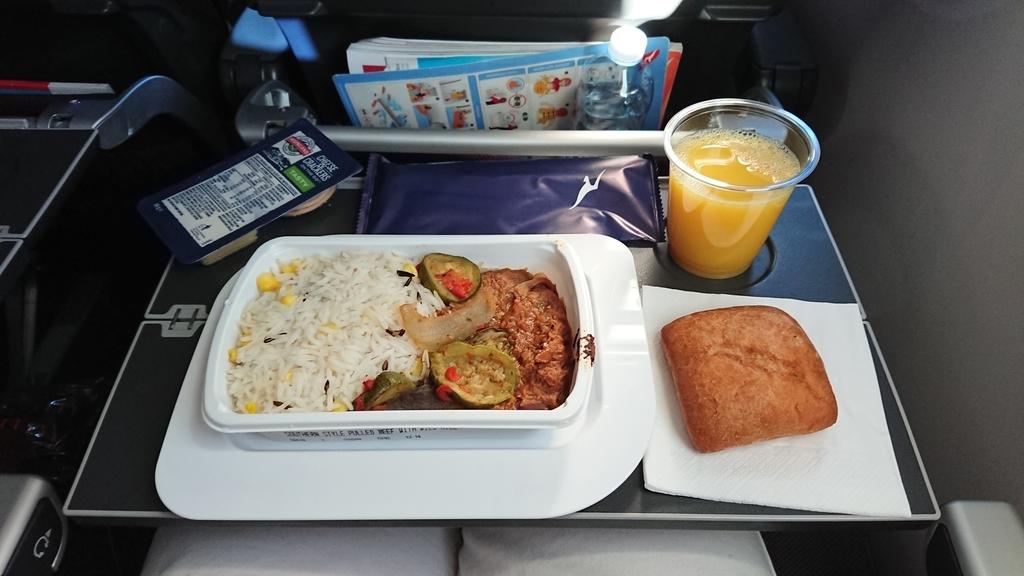 カンタス航空 QF10便 エコノミークラス 機内食 パース メルボルン