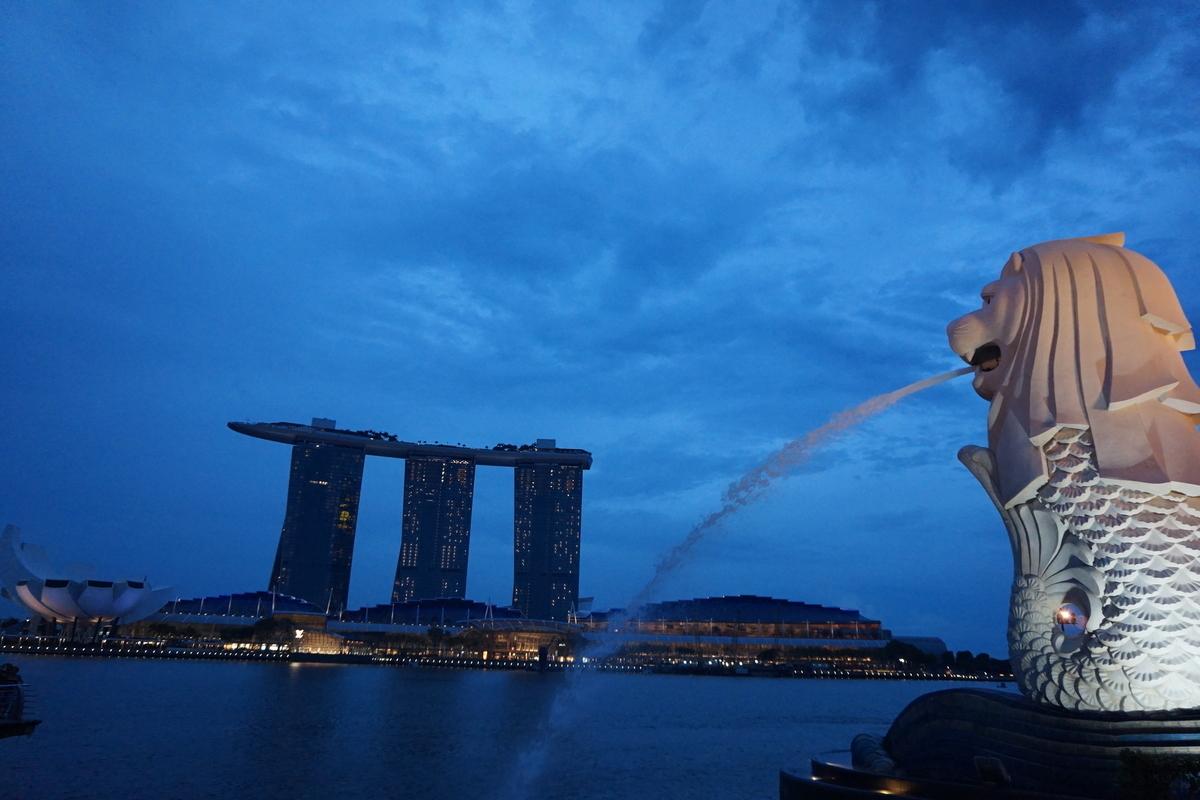 シンガポール マーライオン公園 マリーナベイ・サンズ
