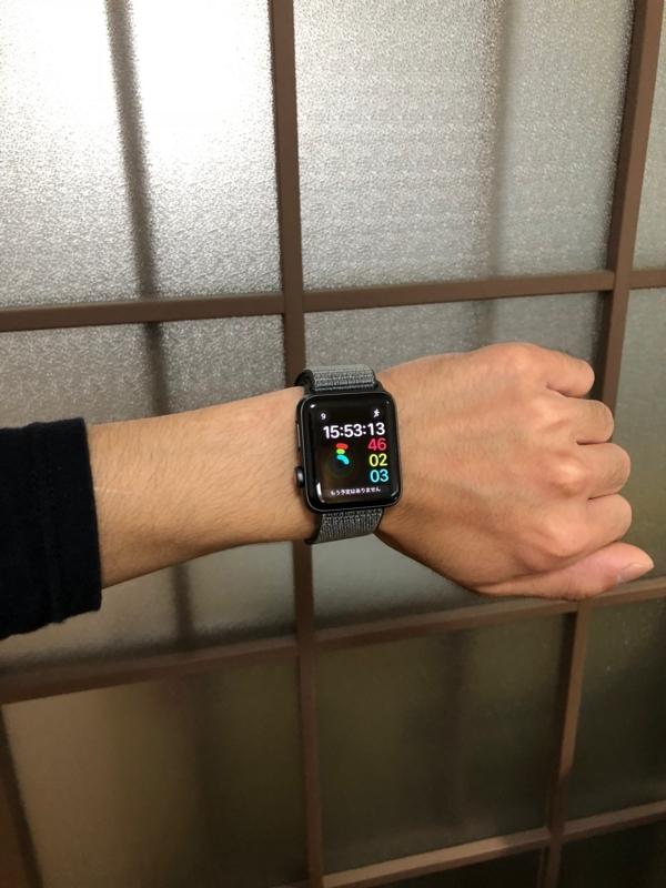 Apple Watchをつけている左手