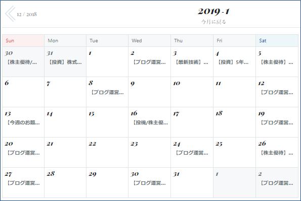 2019年1月の記事公開カレンダー