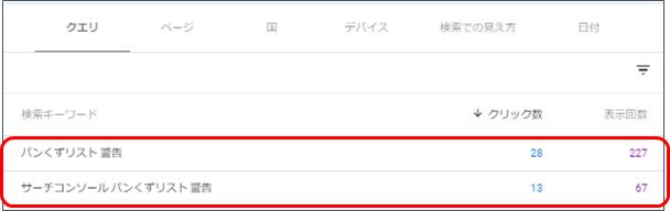 GoogleSearchConsole(クエリ)
