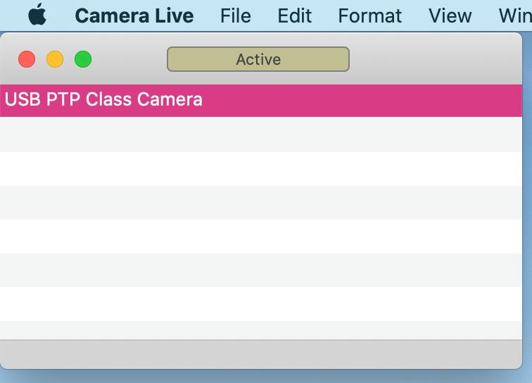 カメラライブアプリにカメラを接続してアクティブな状態のウインドウ