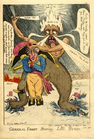 冬将軍(general Frost)の1812年の風刺画 ナポレオン