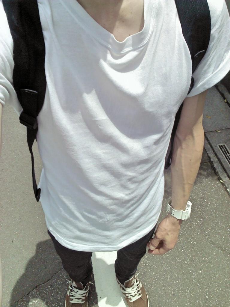 オーガニックコットン太番手パネルボーダー長袖Tシャツ【サイズ拡大】