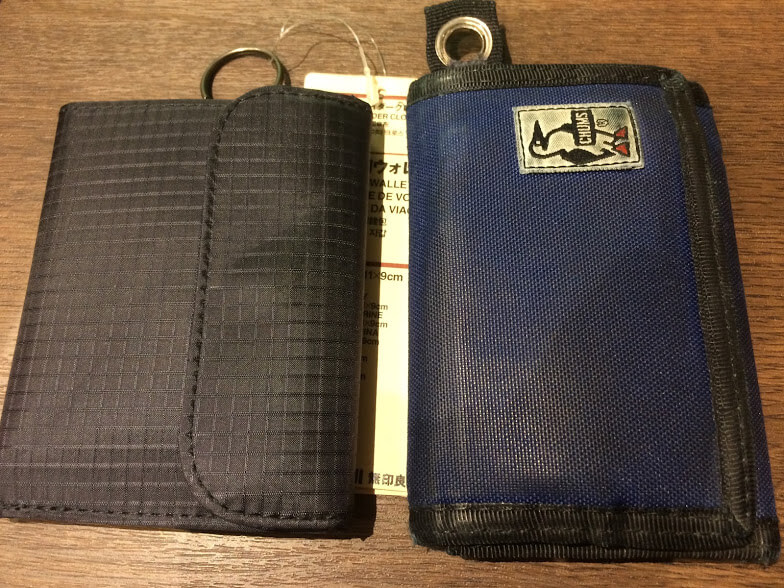 無印良品のトラベル用ウォレットとCHUMSの財布の比較