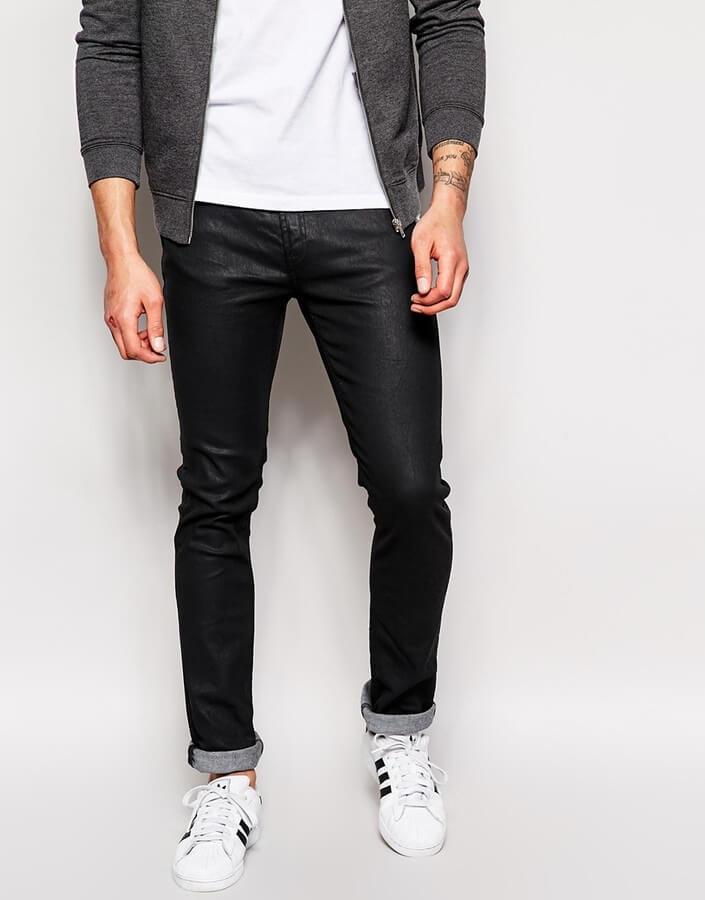nudie jeans black coated denim