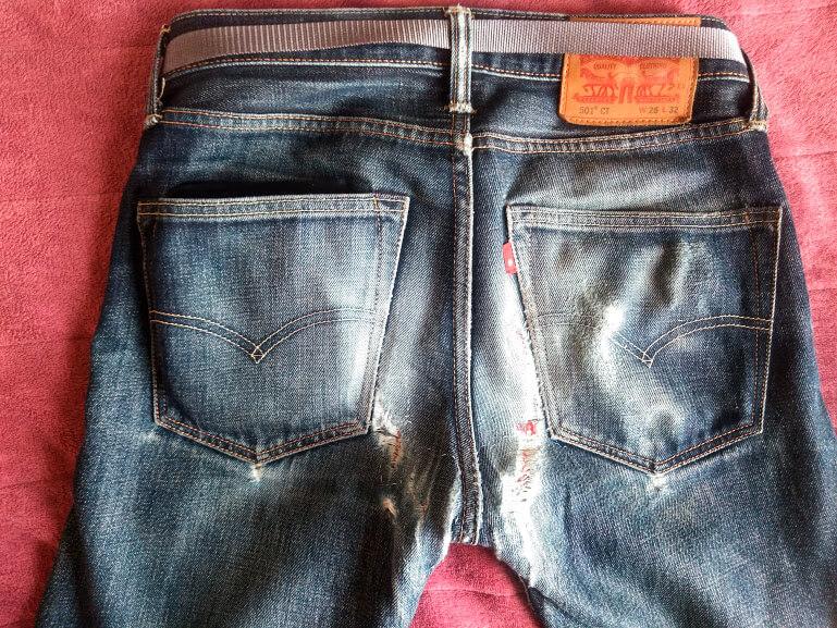 2年1ヶ月穿いたコーンデニムの501CTの臀部