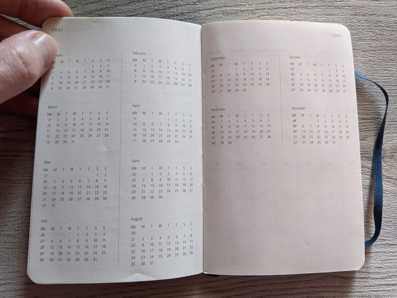 MOLESKINEのウィークリーダイアリーのカレンダー