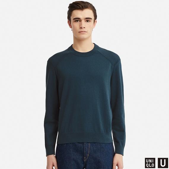 コットンカシミヤクルーネックセーター(長袖)