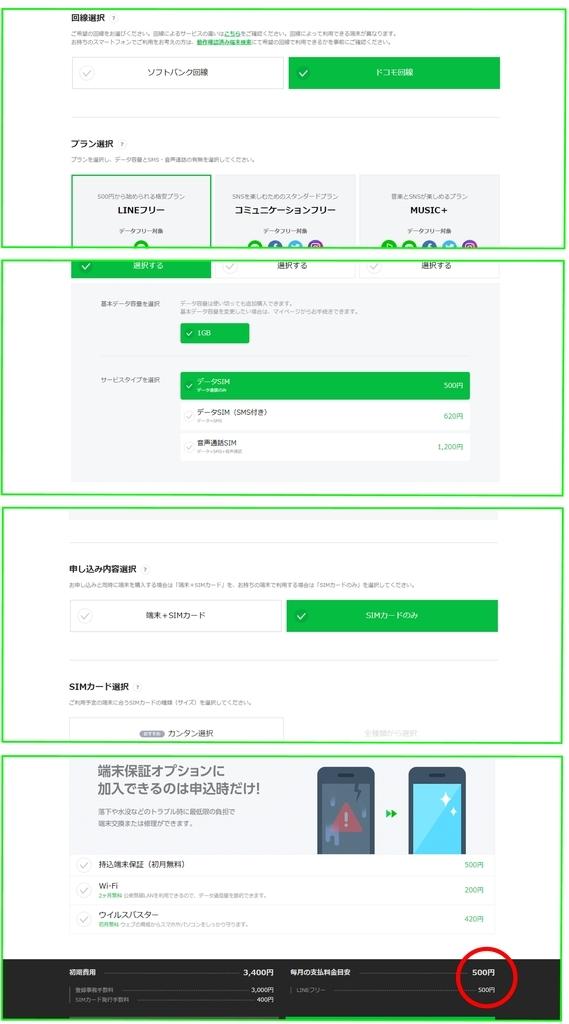 LINEモバイル最安値プラン500円の流れ