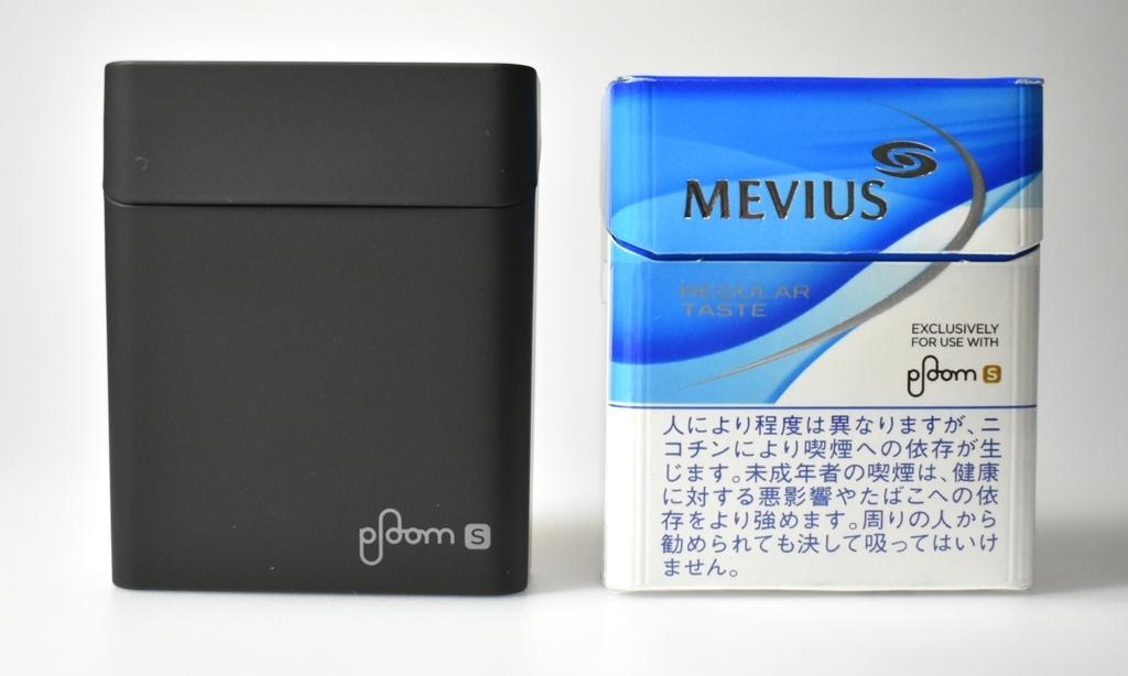 プルームS専用モバイルスティックケースとタバコスティックの比較画像