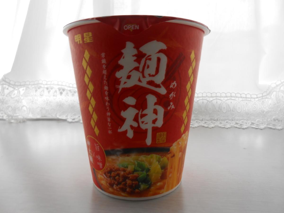 明星 麺神 めがみ 旨 味噌(カップ麺) 縦