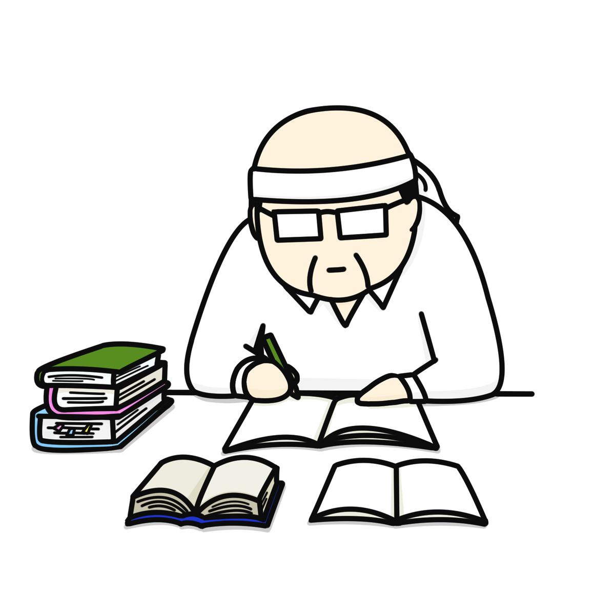 勉強するおじさん