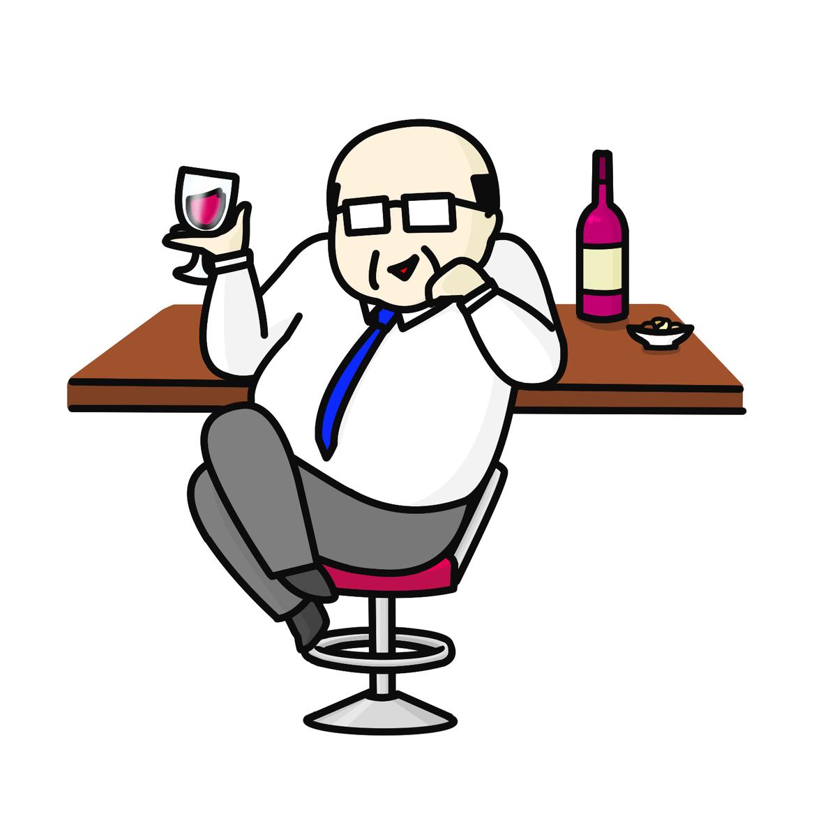 ワインを持ったおじさん