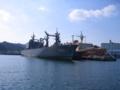 補給艦ときわ(左)  砕氷船初代しらせ(右)