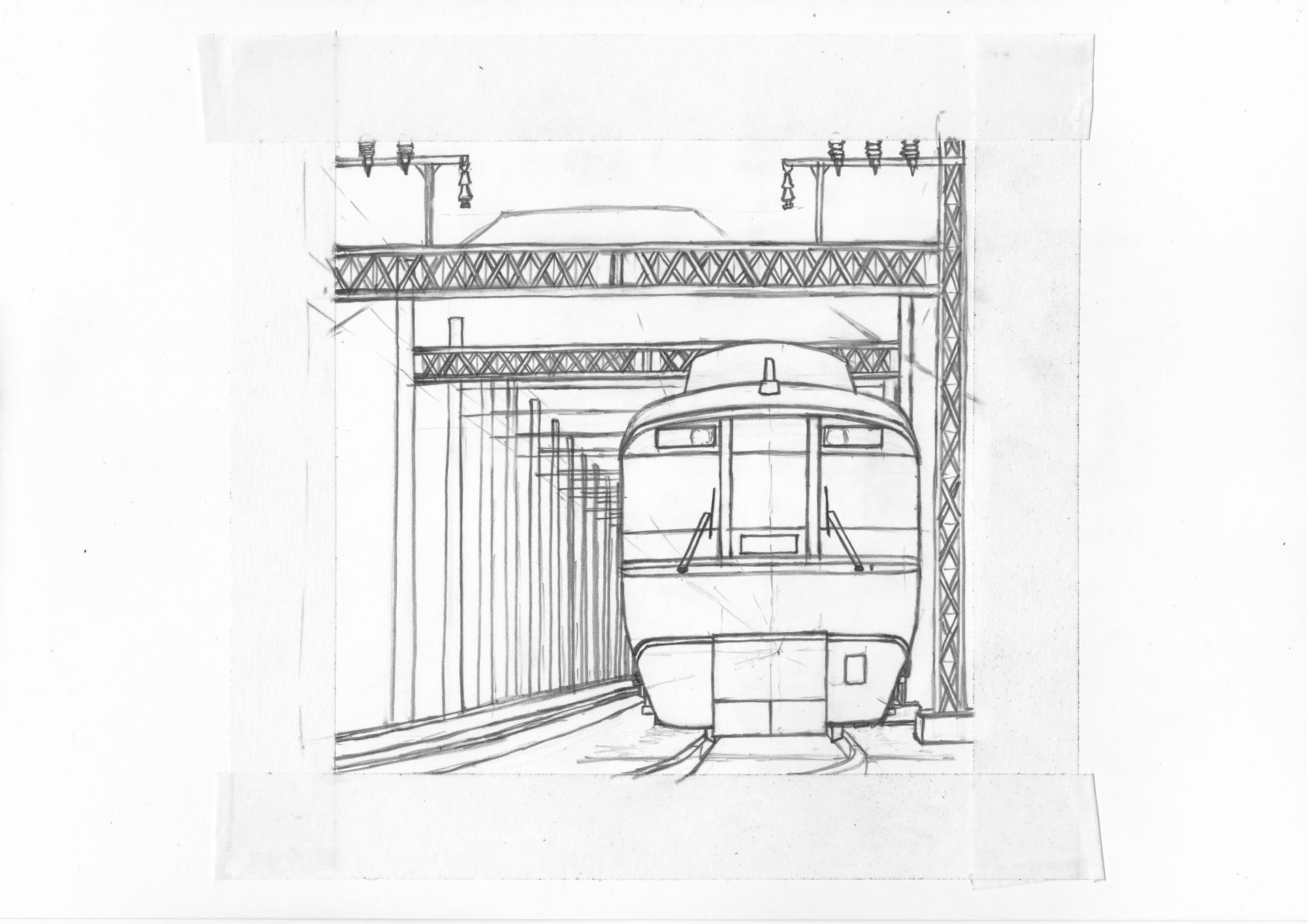 鉄道イラスト 描きかけ