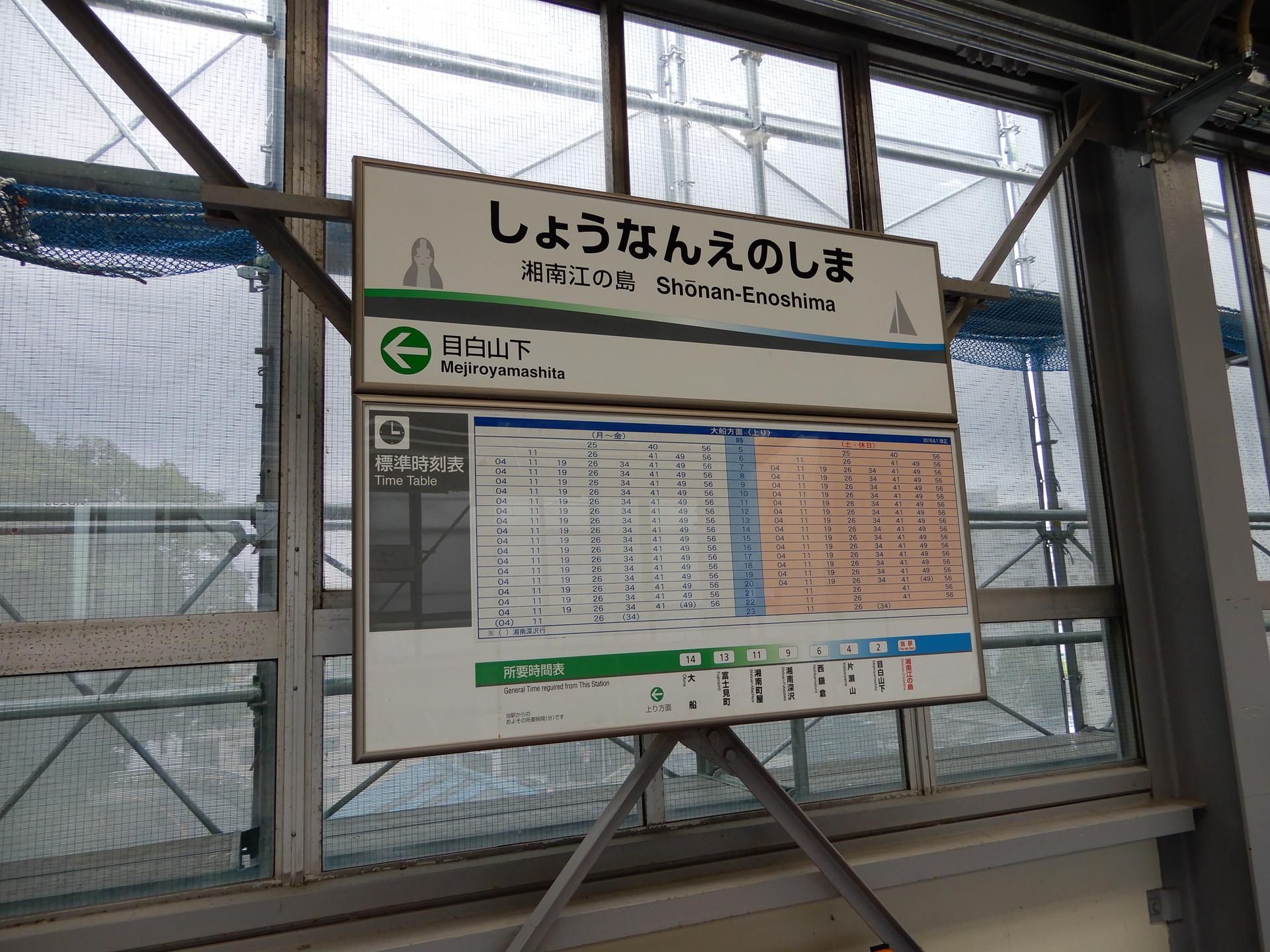 湘南江の島駅の旧駅名標