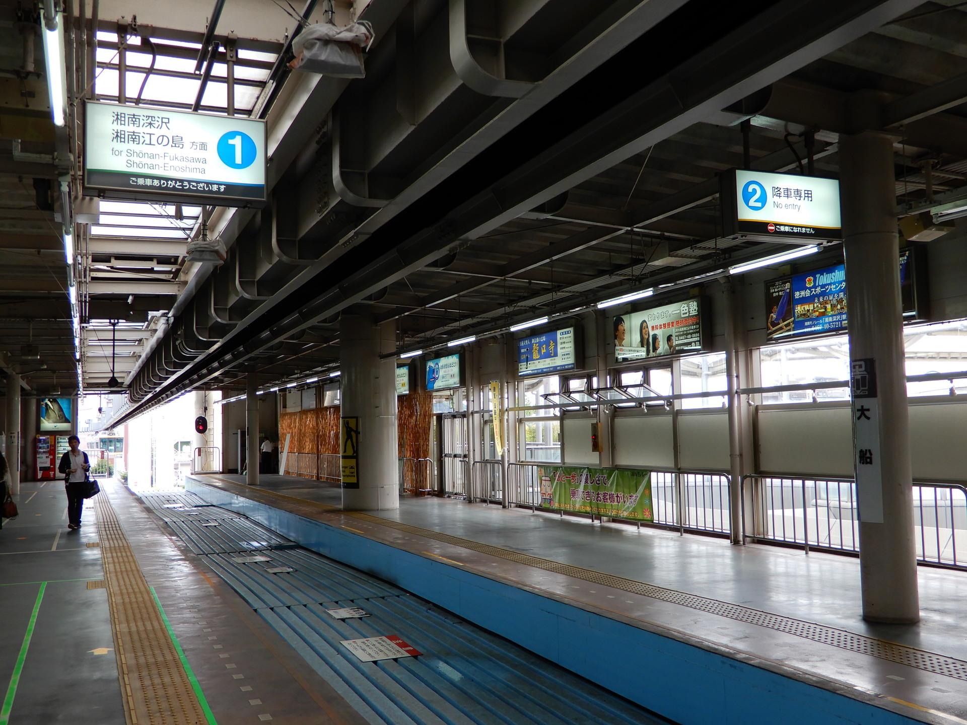 大船駅の番線表示