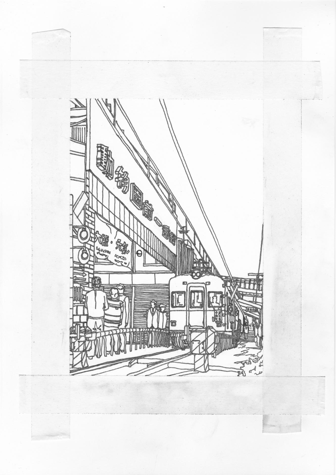 ペン入れを終えた南海電車のイラスト