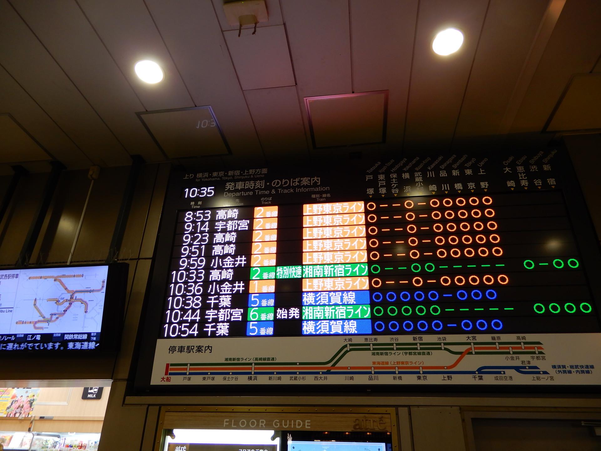 大船駅の発車標