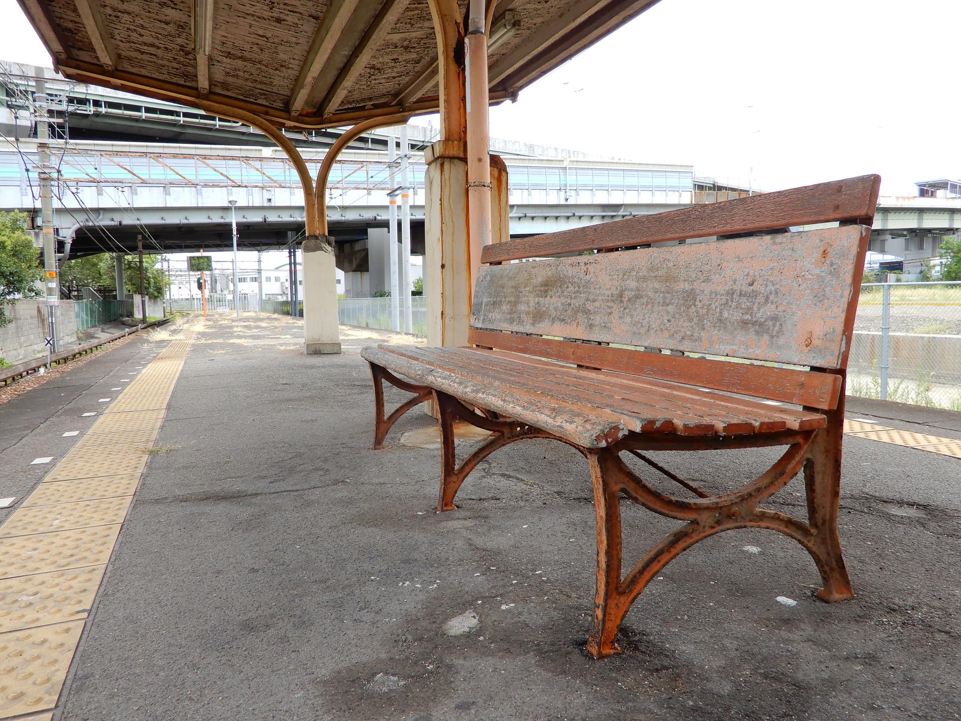 木津川駅のベンチ