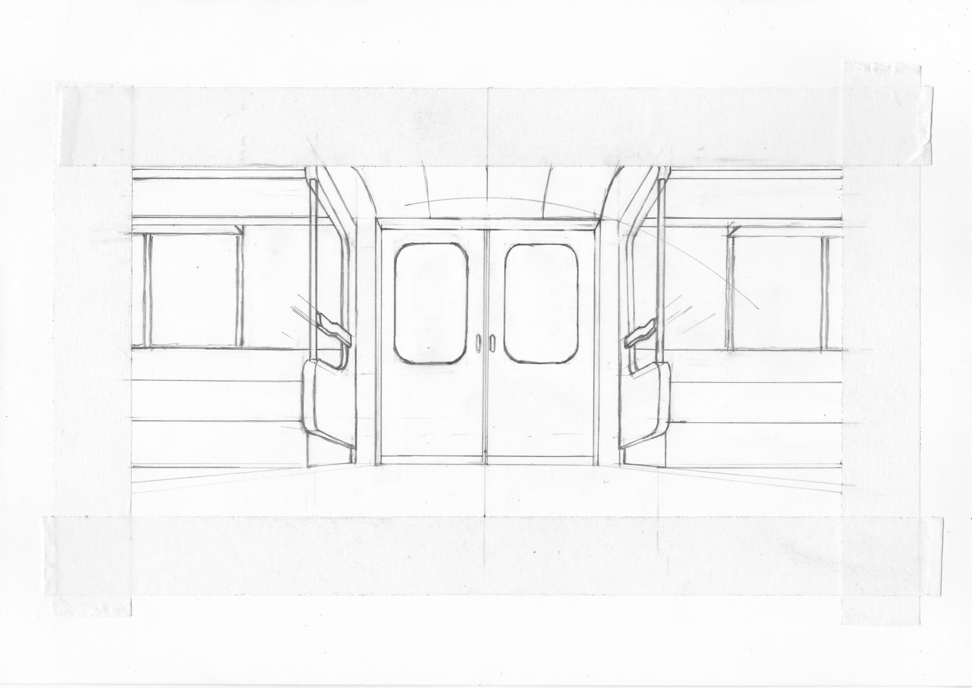 丸の内線02系の描きかけイラスト