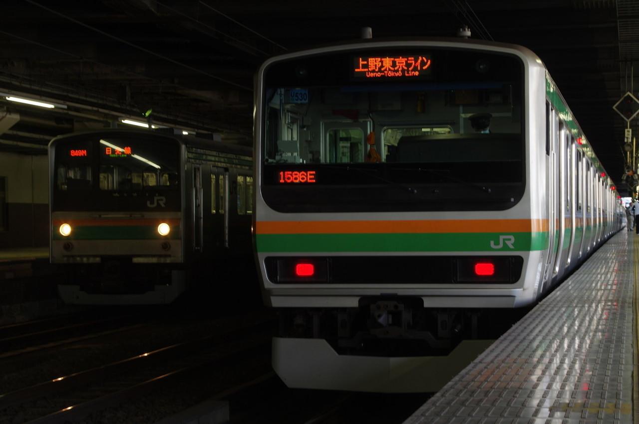 E231系上野東京ライン表示と205系日光線表示