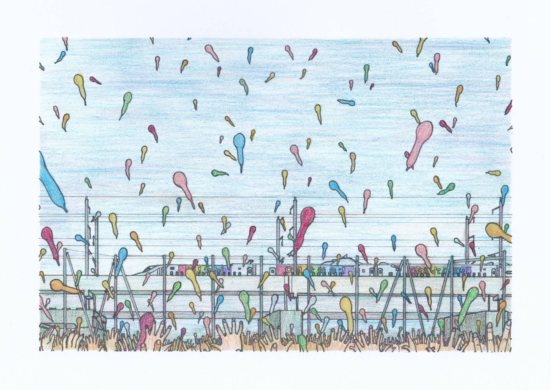 ジェット風船で歓迎される、九州新幹線のイラスト
