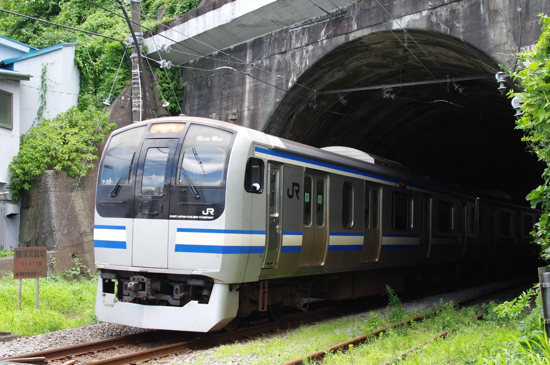 逸見トンネルを抜けて横須賀踏切を通過するE217系
