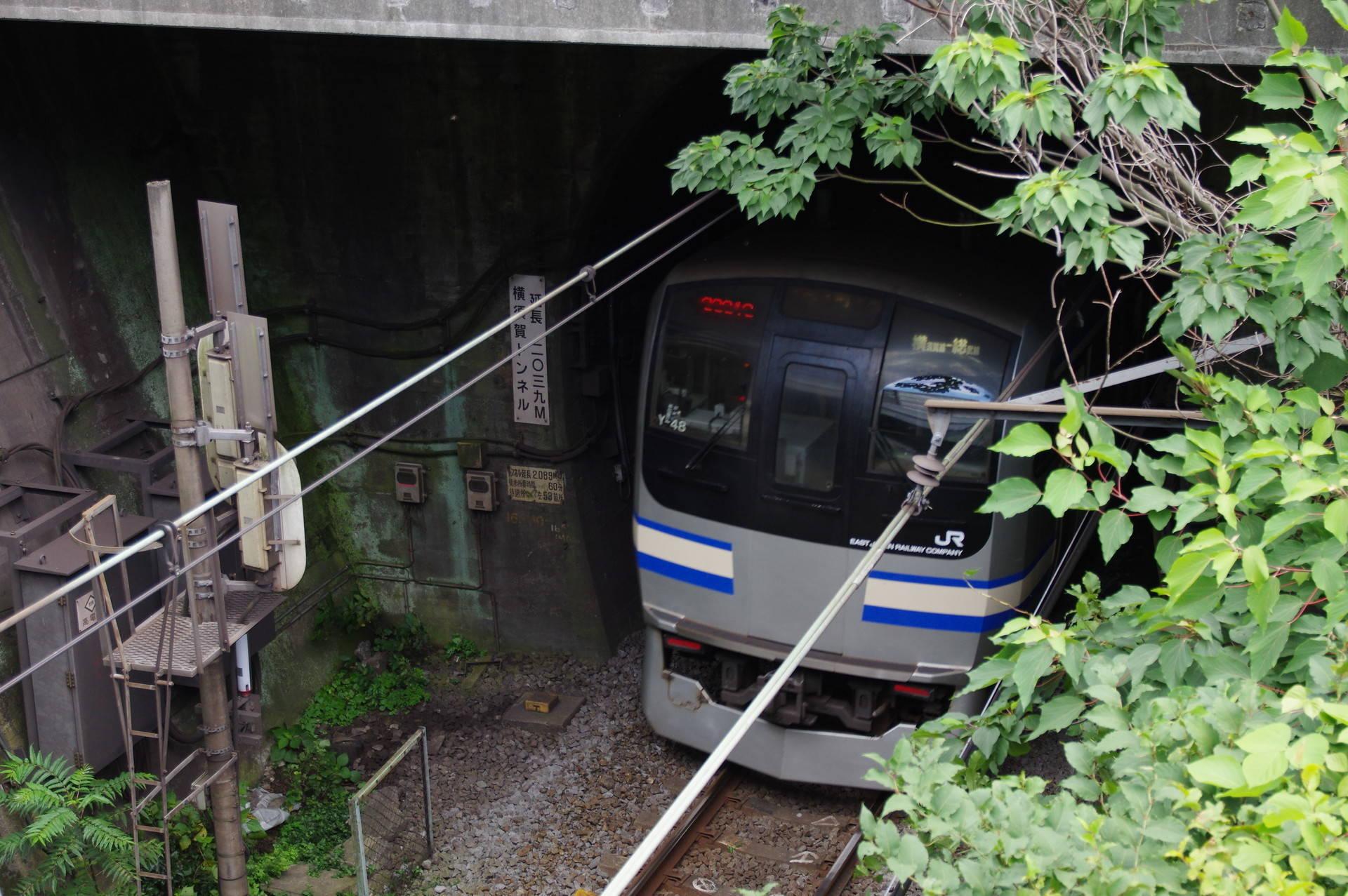 横須賀トンネルに進入するE217系の最後尾