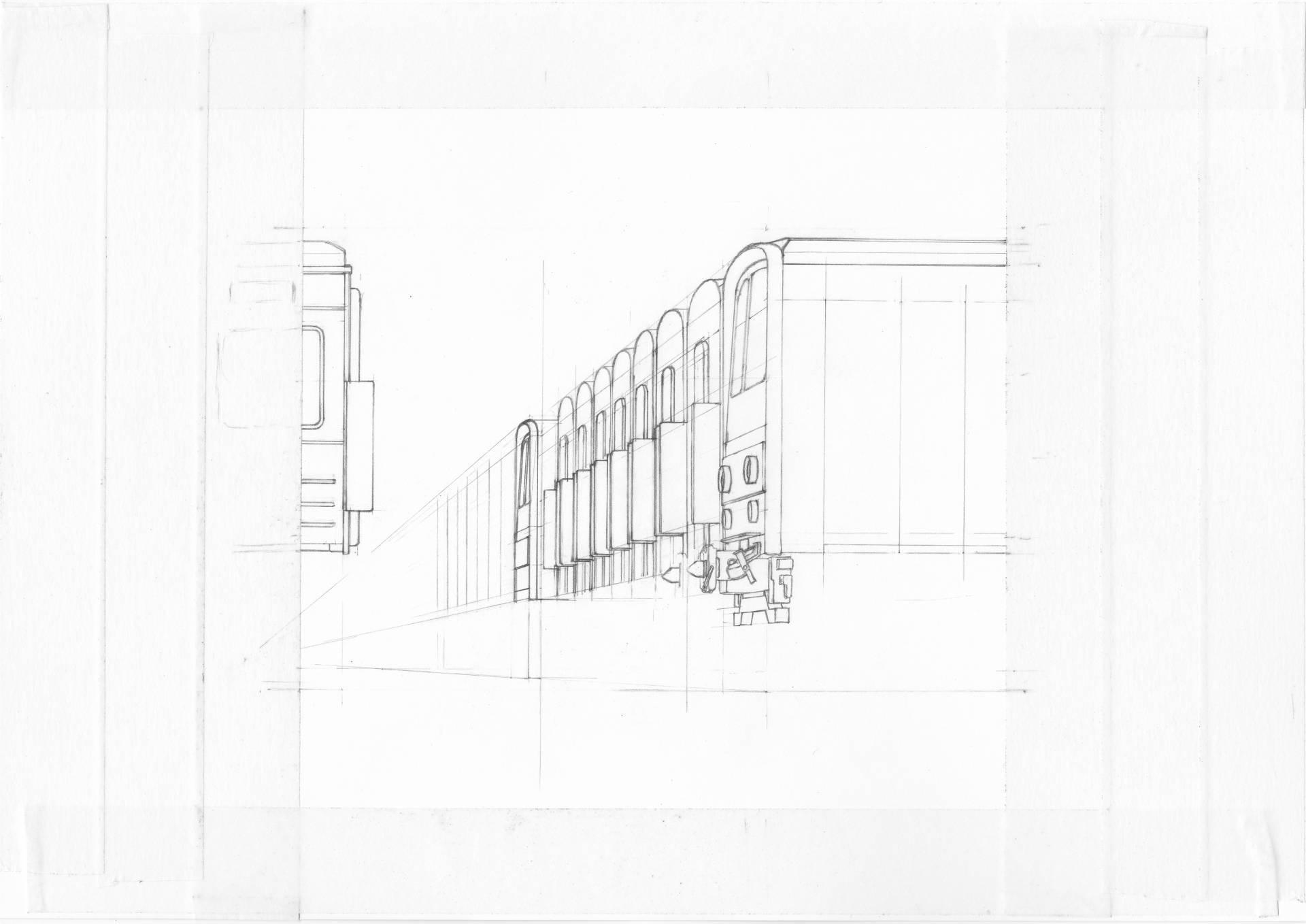 向かって左側の車両端部分を描き、構図変更を行った状態のイラスト