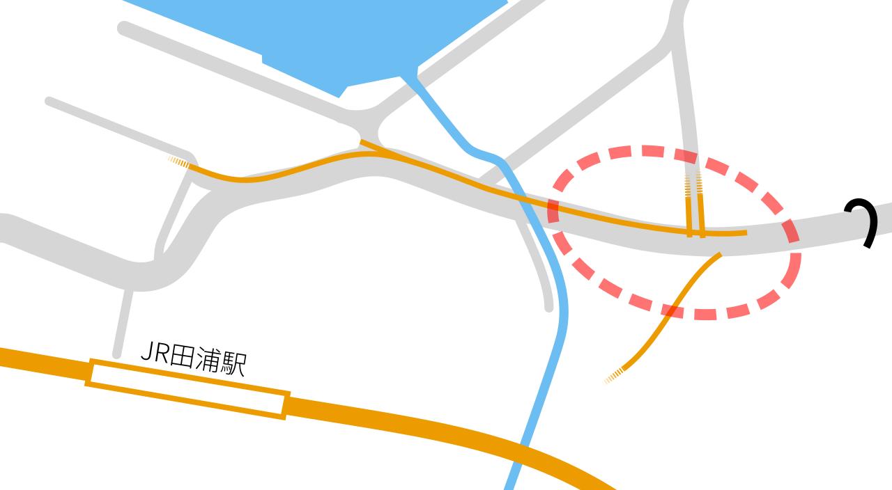 田浦駅付近の略地図