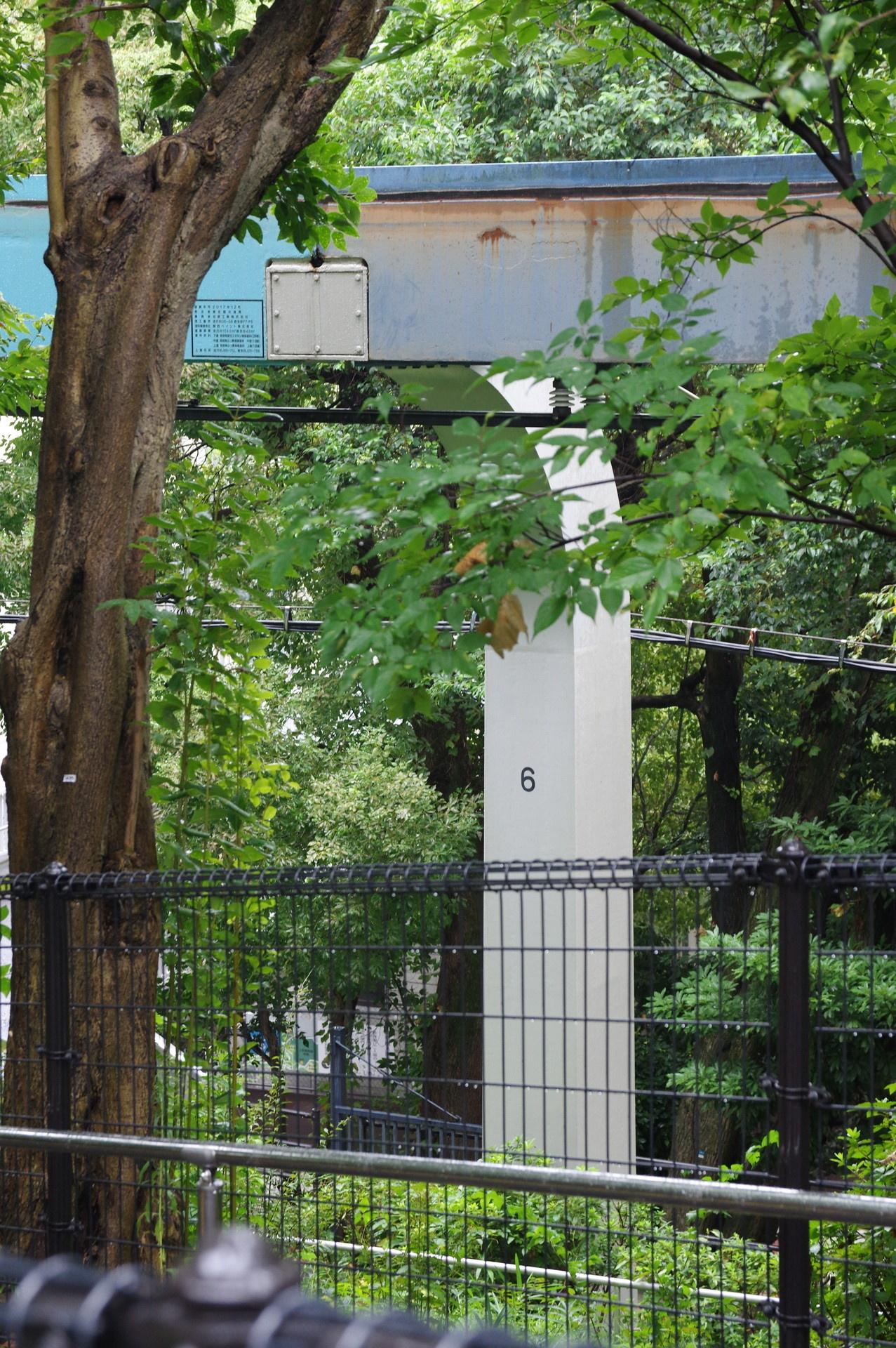 6番橋脚と色が変わったレール