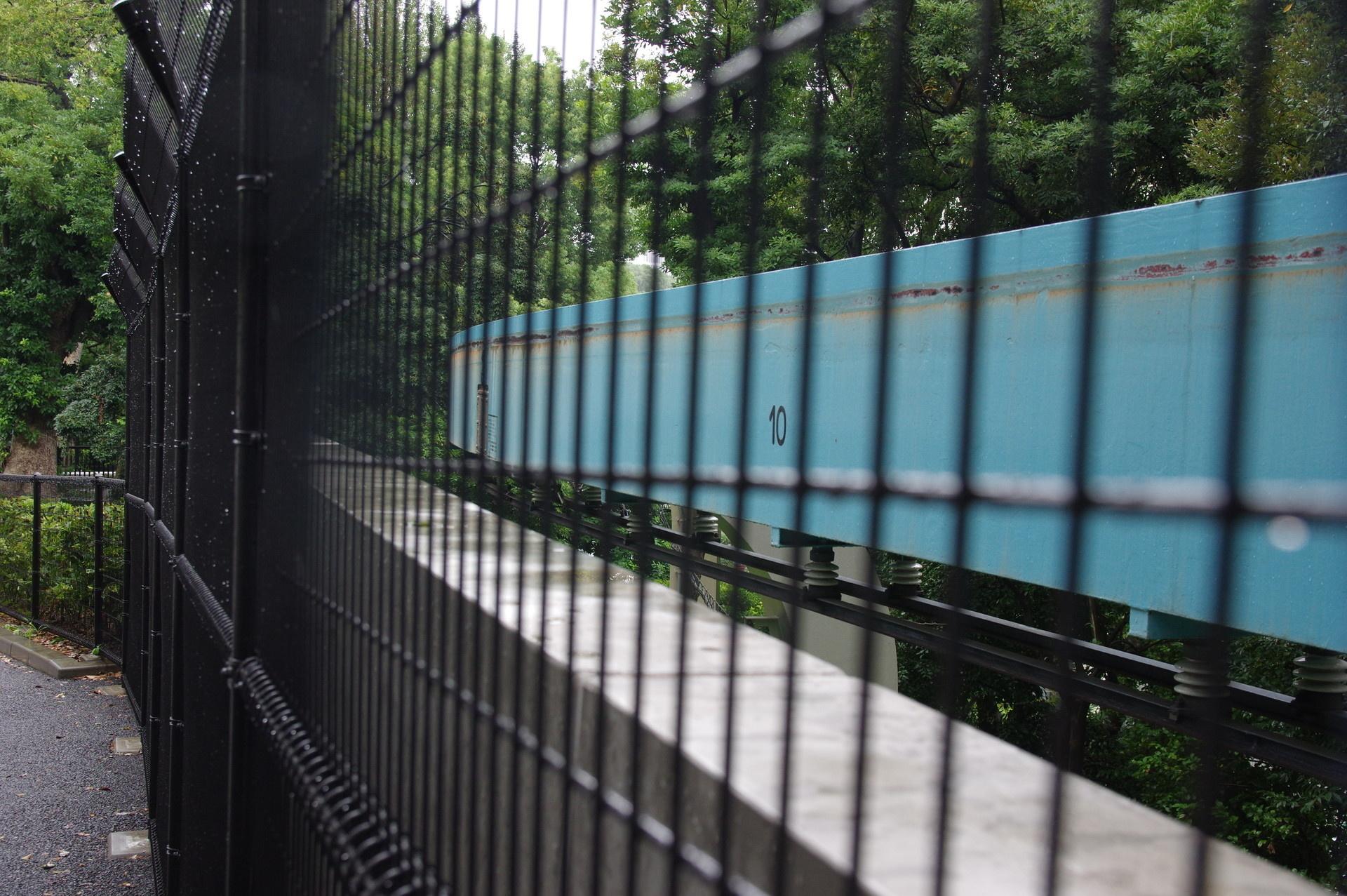 フェンス越しにかろうじて見える11番橋脚