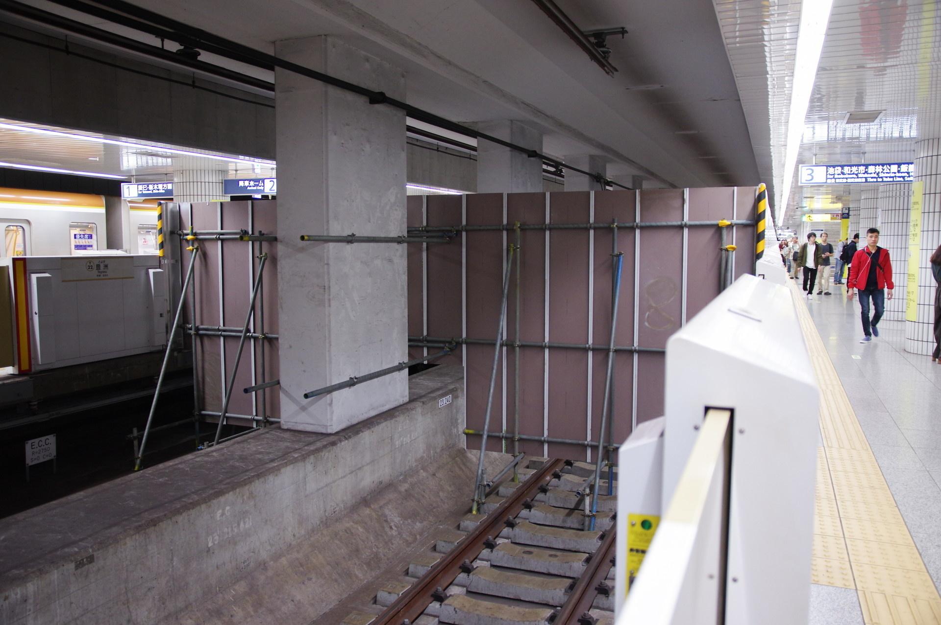 工事現場終端(3番線側)