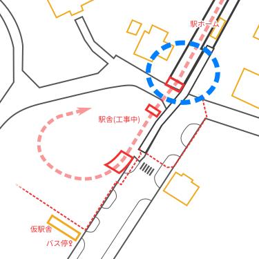 駅付近見取り図(高架線終端部の位置)