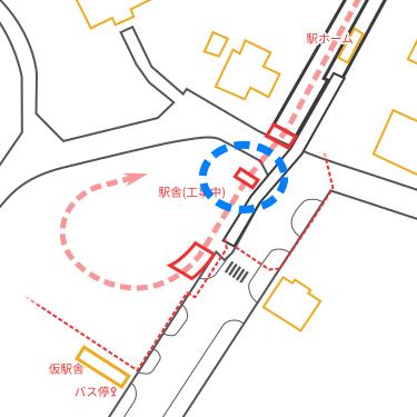 駅付近の見取り図(1本目の橋脚の位置)
