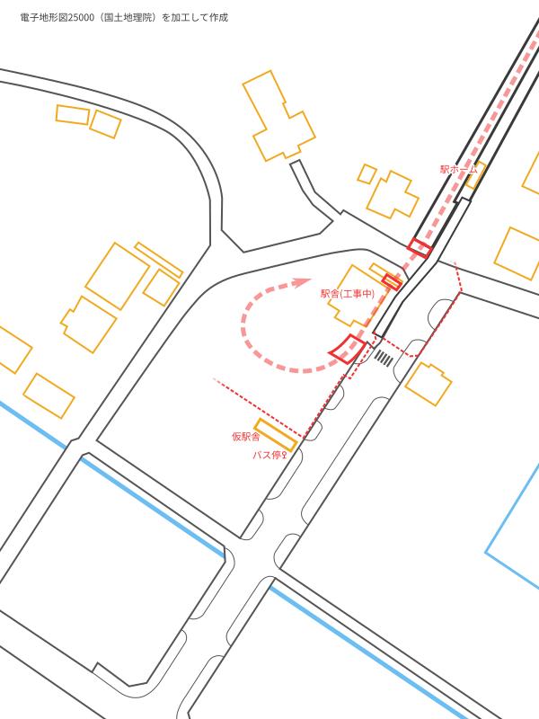 甲浦駅付近の見取り図・工事現場概要図