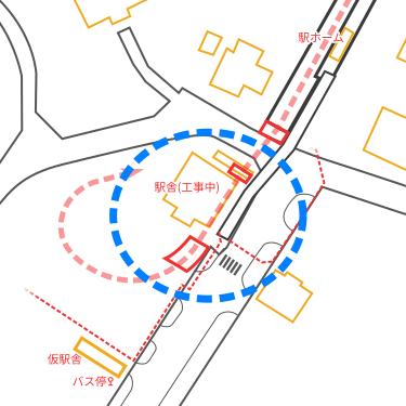 駅周辺見取り図(駅舎・駅前道路の位置)
