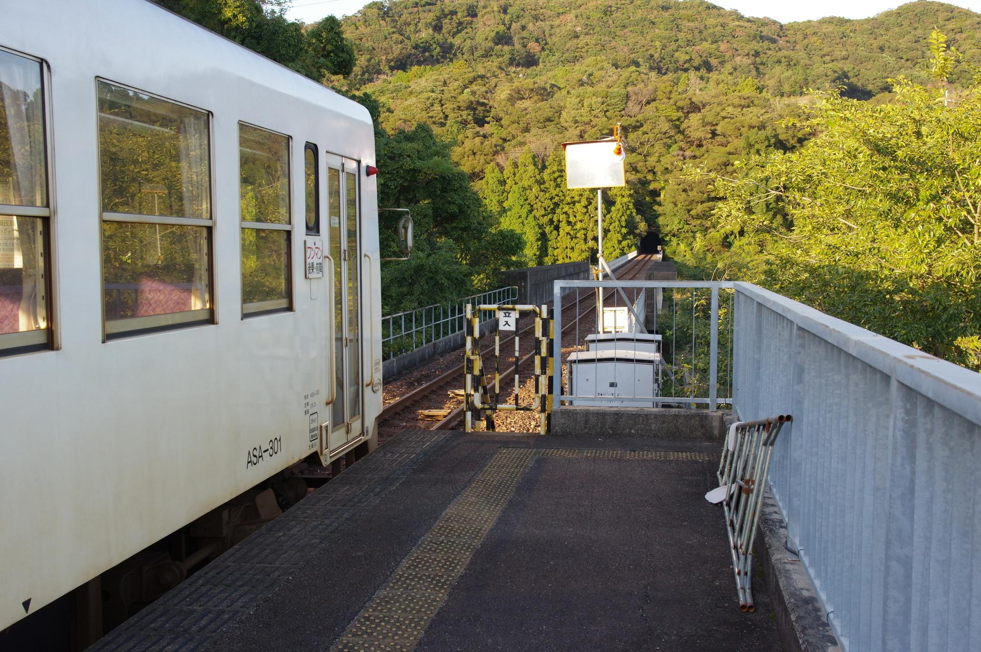 甲浦駅ホームの海部方先端