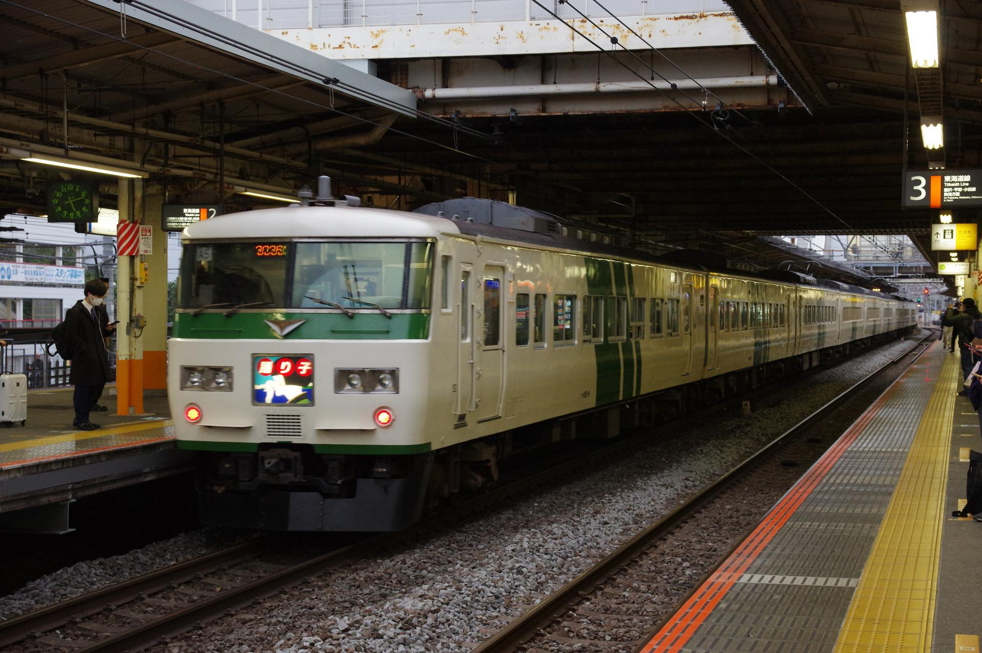 大船駅を発車する踊り子16号