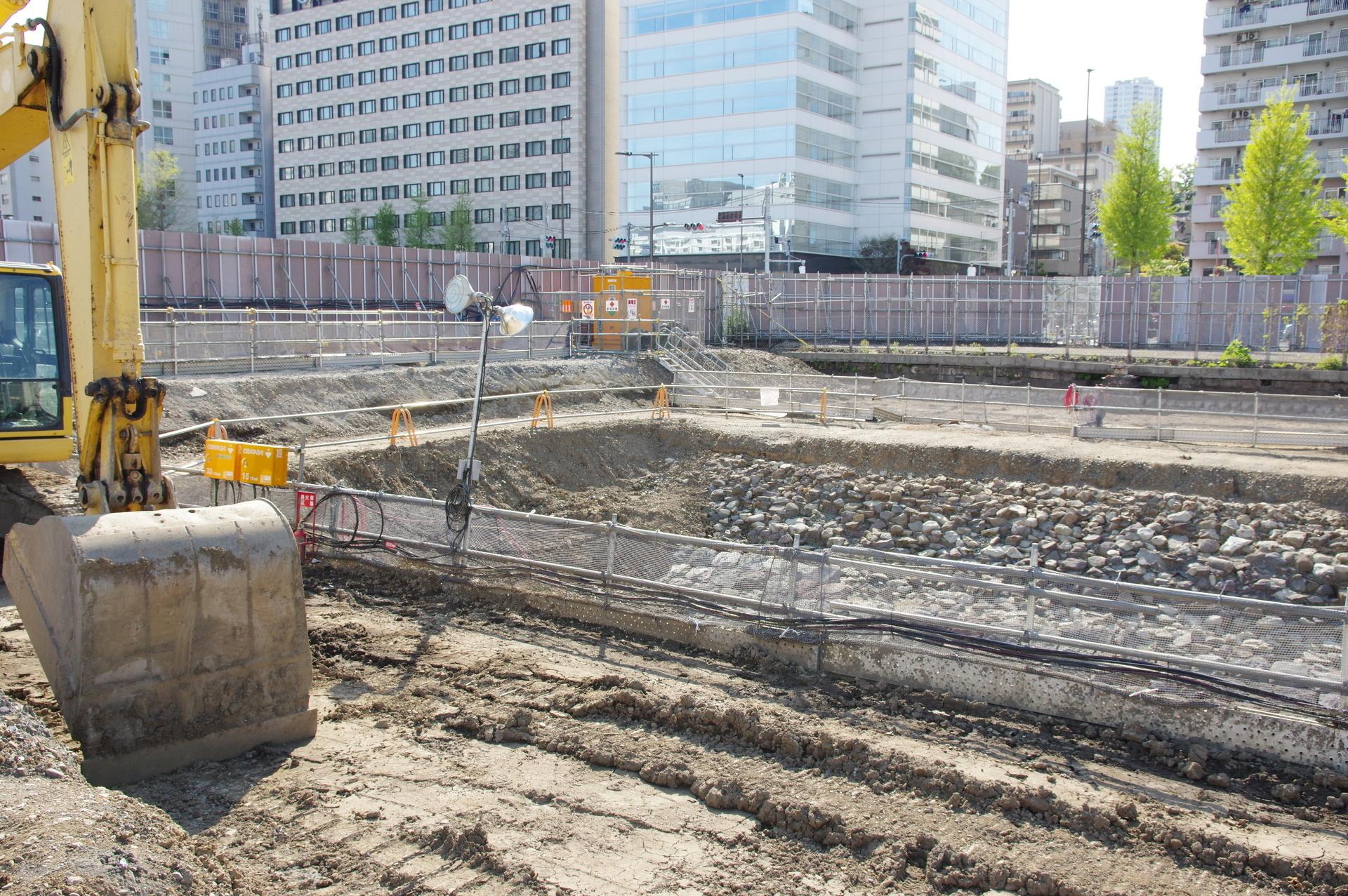 4街区の築堤掘削部終端